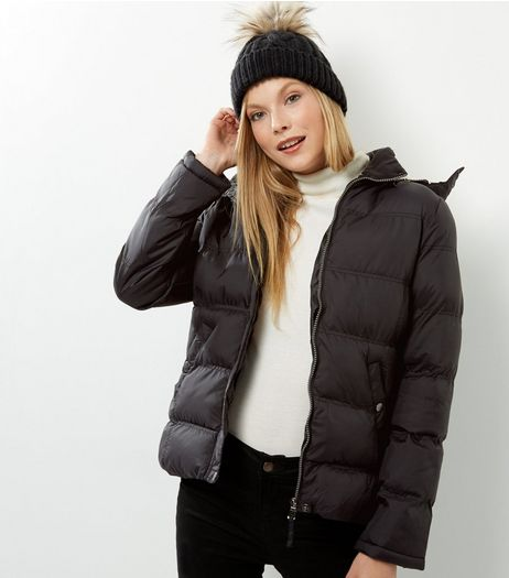Blue Vanilla Black Faux Fur Trim Hooded Quilted Jacket | New Look