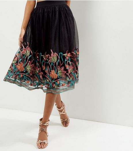 Black Floral Embroidered Hem Midi Skirt  | New Look