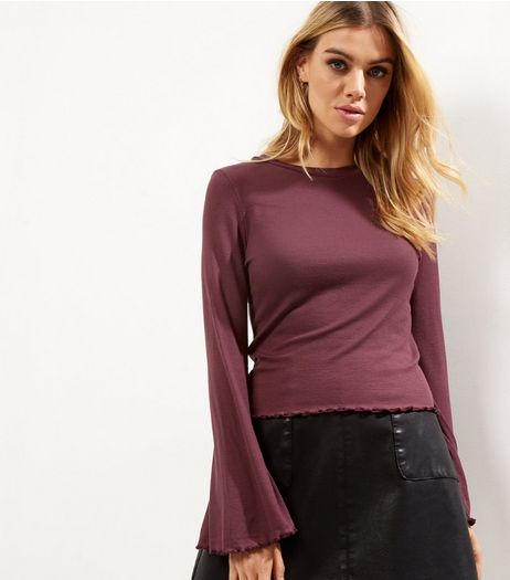 Burgundy Ribbed Bell Sleeve Top  | New Look