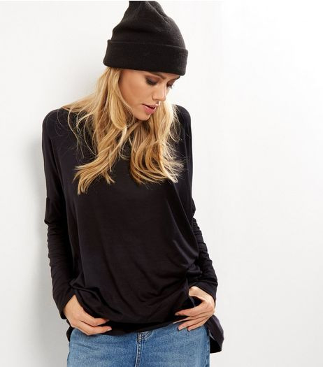 Black Long Sleeve Oversized Jumper  | New Look