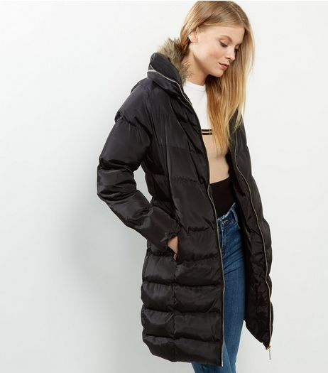 Blue Vanilla Black Padded Longline Hooded Coat  | New Look