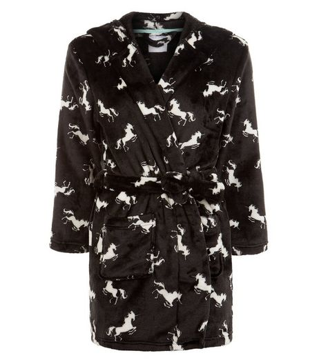 Teens Black Unicorn Print Robe | New Look