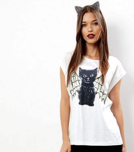White Cat Bat Print Short Sleeve T-Shirt  | New Look