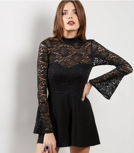 Black Lace Panel Bell Sleeve Playsuit  | New Look