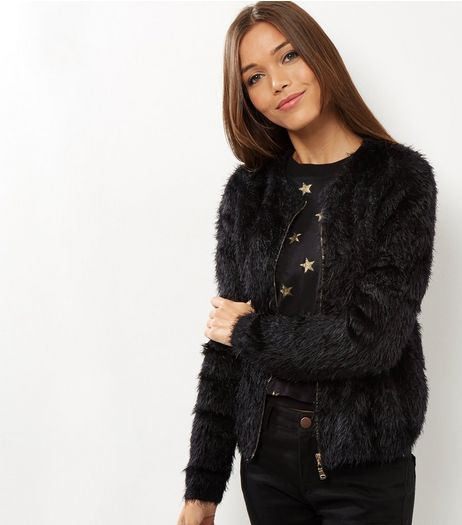 Blue Vanilla Black Fluffy Zip Front Cardigan | New Look