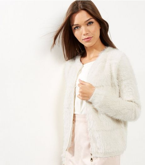 Blue Vanilla Cream Fluffy Zip Front Cardigan | New Look