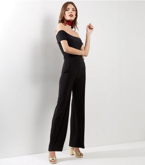 Black Bardot Neck Wide Leg Jumpsuit  | New Look