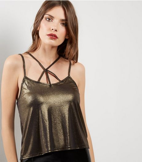 Gold Metallic Cross Strap Front Cami Top  | New Look