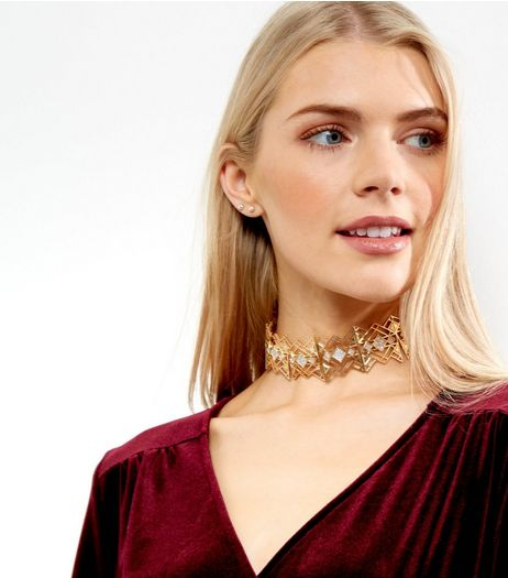 Gold Square Crystal Choker | New Look