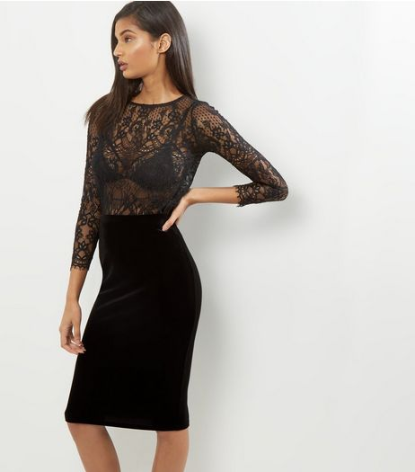 Black Velvet Pencil Midi Skirt  | New Look