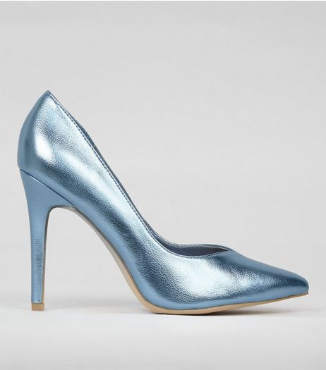 Wide Fit Blue Metallic Pointed Court Shoes | New Look