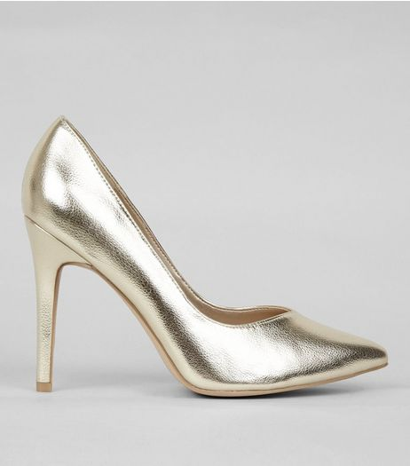 Wide Fit Gold Pointed Court Shoes | New Look