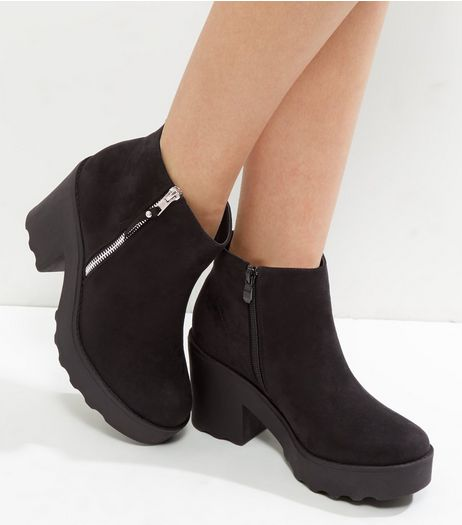 Wide Fit Black Suedette Chunky Ankle Boots | New Look