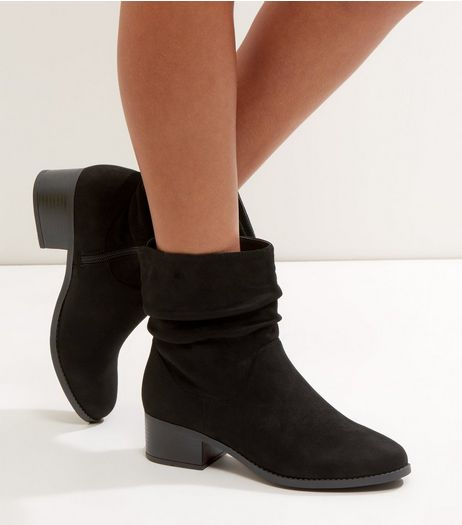 Black Suedette Ruche Top Ankle Boots | New Look