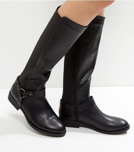 Black Metal Ring Knee High Boots | New Look