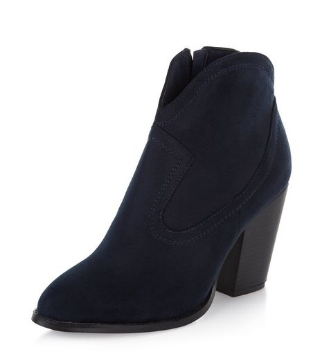 Navy Suedette Western Ankle Boots | New Look