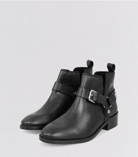 Black Leather Buckle Cut Out Ankle Boots | New Look