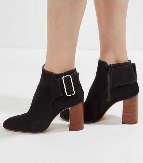 Black Suede Buckle Side Heeled Boots | New Look