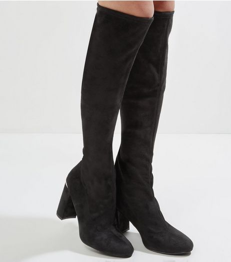 Wide Fit Black Suedette Metal Trim Knee High Boots | New Look