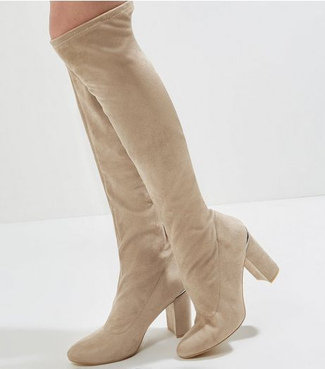 Wide Fit Brown Suedette Metal Trim Knee High Boots | New Look