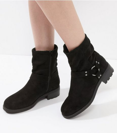 Black Suedette Faux Shearling Lined Biker Boots | New Look