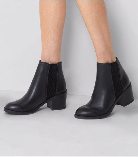Black Stretch Panel Chelsea Boots | New Look