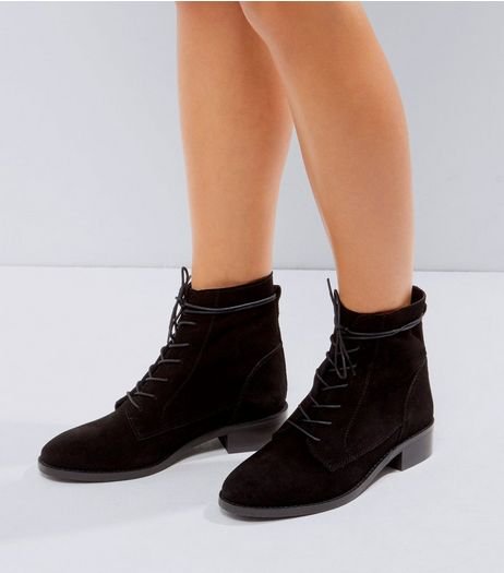 Black Suede Lace Up Boots | New Look