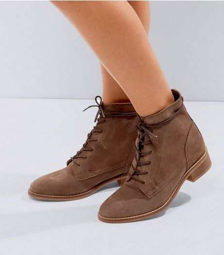 Brown Suede Lace Up Boots | New Look