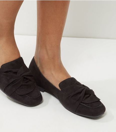 Black Suedette Knot Front Loafers | New Look