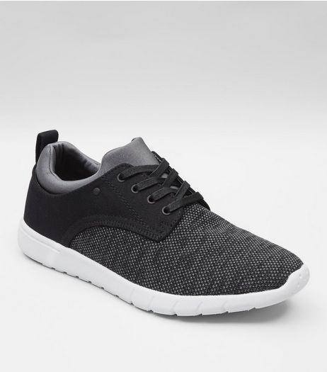 Black Knitted Contrast Sole Trainers | New Look