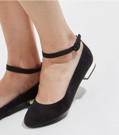 Wide Fit Black Suedette Metal Heel Ankle Strap Pumps | New Look