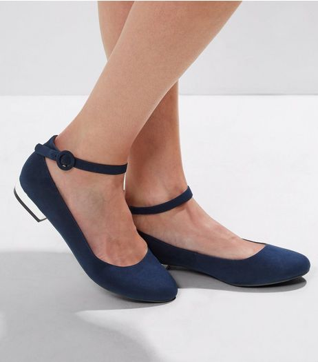 Wide Fit Navy Suedette Metal Heel Ankle Strap Pumps | New Look