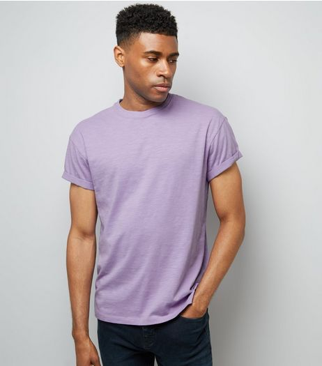 Purple Cotton Rolled Sleeve T-Shirt | New Look