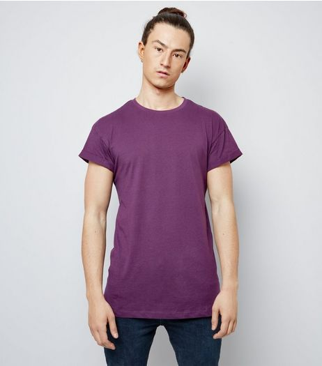 Dark Purple Roll Sleeve T-Shirt | New Look