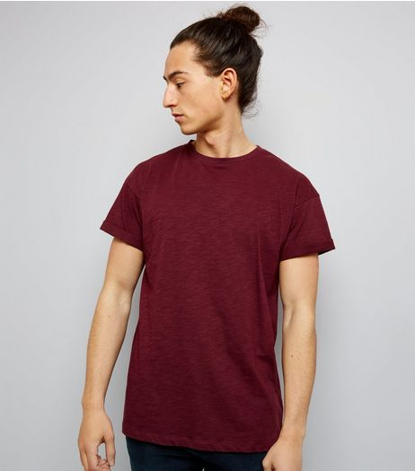Burgundy Cotton Rolled Sleeve T-Shirt | New Look