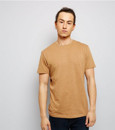 Camel Cotton Mix Crew Neck T-Shirt | New Look