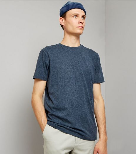 Navy Cotton Mix Crew Neck T-Shirt | New Look