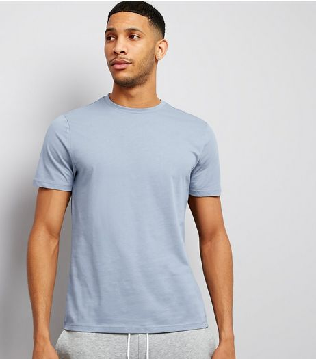 Pale Blue Cotton Crew Neck T-Shirt | New Look