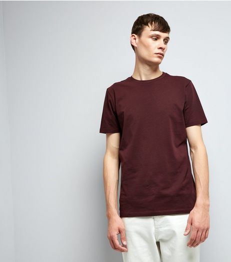 Burgundy Cotton Crew Neck T-Shirt | New Look