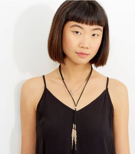 Black Layered Tassel Drop Necklace | New Look