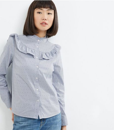 Blue Spot Print Frill Trim Shirt  | New Look
