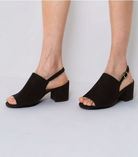 Wide Fit Black Suedette Sling Back Mules | New Look