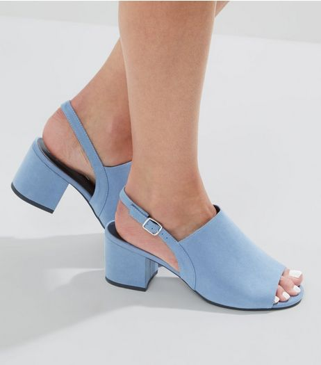 Wide Fit Blue Suedette Sling Back Mules | New Look