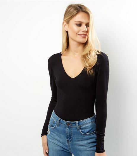 Black V Neck Long Sleeve Bodysuit  | New Look
