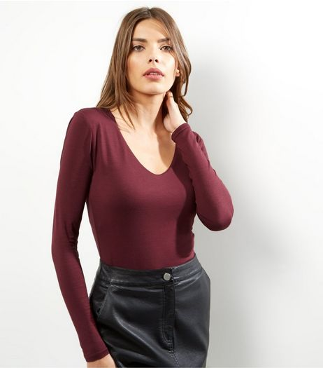 Burgundy V Neck Long Sleeve Bodysuit  | New Look