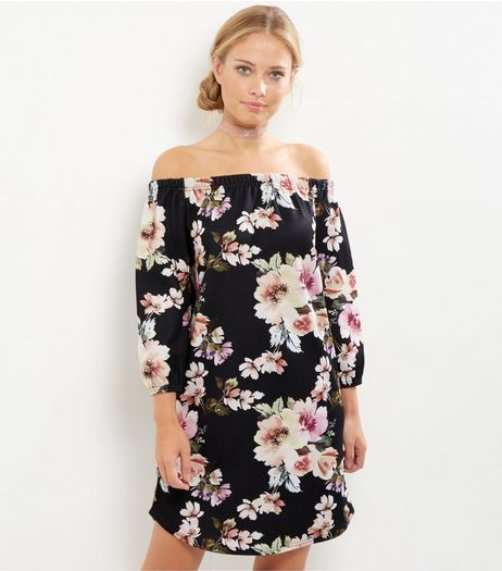 Cameo Rose Black Floral Print Bardot Neck Dress | New Look
