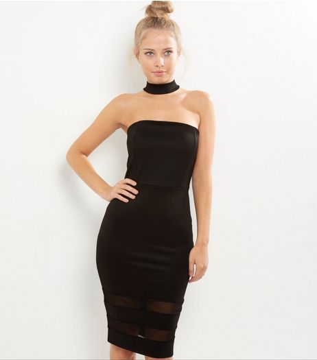 Cameo Rose Black Choker Neck Mesh Hem Bodycon Dress | New Look