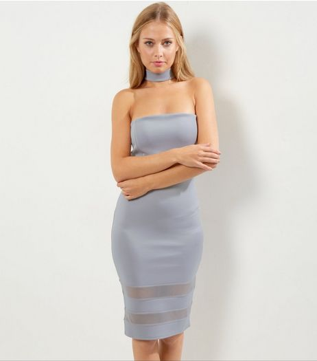 Cameo Rose Lilac Choker Neck Mesh Panel Dress | New Look