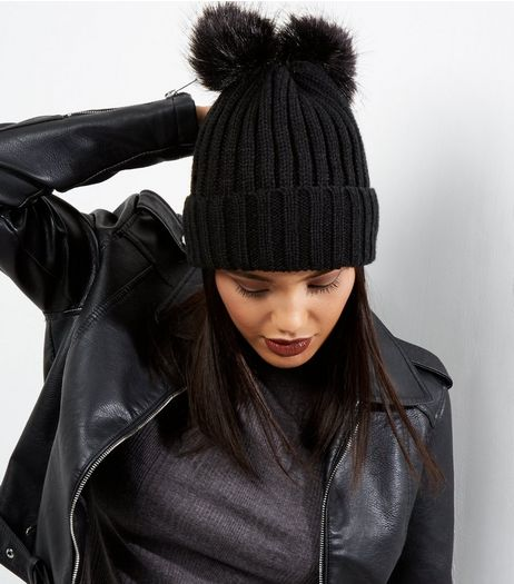 Black Ribbed Faux Fur Pom Pom Beanie | New Look