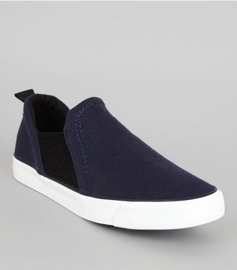Wide Fit Navy Jersey Plimsolls | New Look